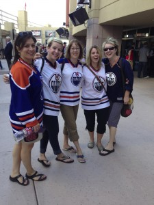 The jersey girls outside of Jobing arena