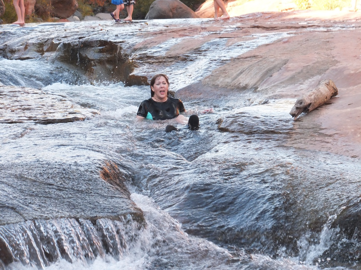 Kate braves the mighty waters of Slide Rock not once but twice!