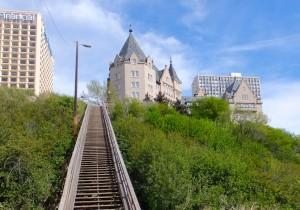 Half way down the stairs below the MacDonald Hotel