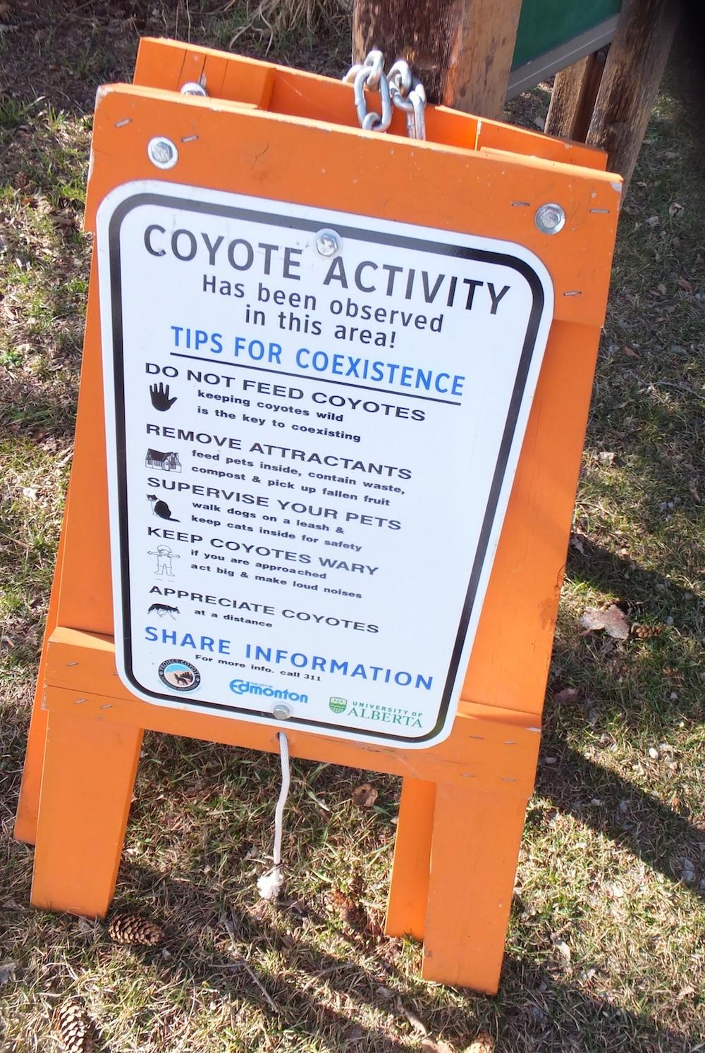 Coyote-friendly sign in Glenora
